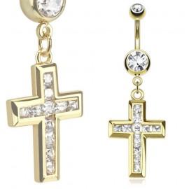 Pozlacený piercing do pupíku - kříž