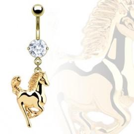 Pozlacený piercing do pupíku s motivem koně