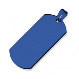 Ocelový přívěšek - destička VELKÁ modrá