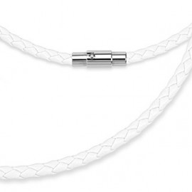 Kožená splétaná šňůrka bílá, délka 50 cm
