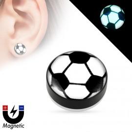 Piercing - magnetický plug do ucha, fotbalový míč