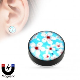 Piercing - magnetický plug do ucha, květy sakury