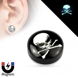 Piercing - magnetický plug do ucha, lebka