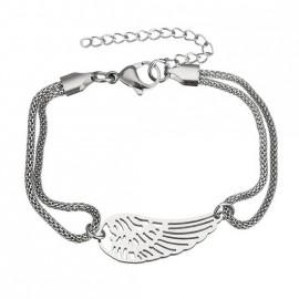 Ocelový náramek andělské křídlo