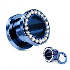 Modrý ocelový tunel s čirými kamínky