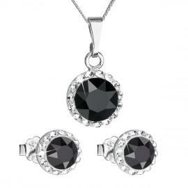 Sada šperků s krystaly Swarovski náušnice a přívěsek černé kulaté 39152.3