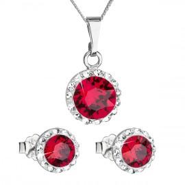 Sada šperků s krystaly Swarovski náušnice, řetízek a přívěsek červené kulaté 39152.3