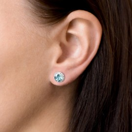 Sada šperků s krystaly Swarovski náušnice, řetízek a přívěsek modré kulaté 39152.3
