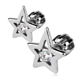 Stříbrné náušnice šroubovací - hvězdy