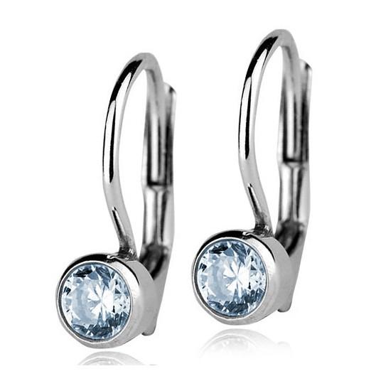 Stříbrné náušnice se světle modrými kamínky 4 mm 91efd610a24