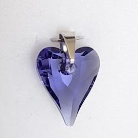 Stříbrný přívěšek srdce z dílny Crystals from Swarovski®, Amethyst
