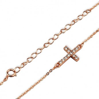 Zlacený stříbrný náramek s křížkem, délka 21 cm
