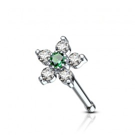 Piercing do nosu, zelený kamínek