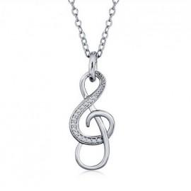 Stříbrný náhrdelník houslový klíč čiré zirkony