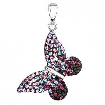 Stříbrný přívěsek s krystaly Swarovski mix barev motýl 34192.3 magic violet