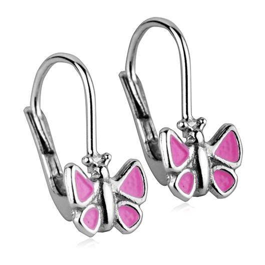 Dívčí stříbrné náušnice - růžoví motýlci