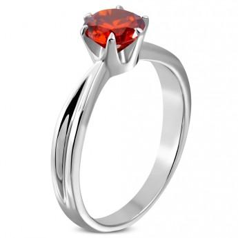 Ocelový prsten se červeným zirkonem