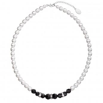 Perlový náhrdelník černo bílý 32013.1