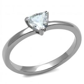 Ocelový prsten s trojúhelníkovým kamenem