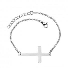 Dámský ocelový náramek s křížkem
