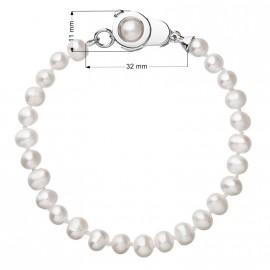 Perlový náramek z pravých říčních perel bílý 23006.1