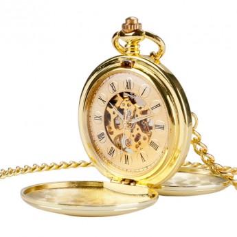 e2d959bdc Mechanické kapesní hodinky otevírací zlacené - cibule Hodinky