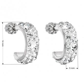 Stříbrné náušnice kruhy s krystaly Crystals from Swarovski®, Crystal