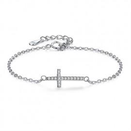 Stříbrný náramek křížek se zirkony