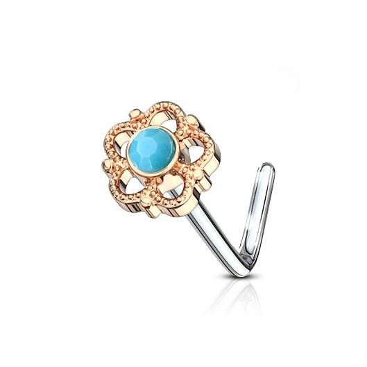 Zlacený zahnutý piercing do nosu - tyrkysový kamínek