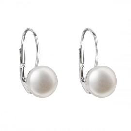 Stříbrné náušnice visací s bílou říční perlou 21009.1