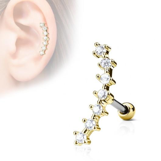 Zlacený cartilage piercing do ucha - čiré kamínky