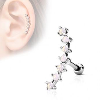 Cartilage piercing do ucha - opálově růžové kamínky