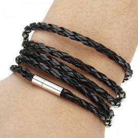 Splétaný koženkový náramek černý