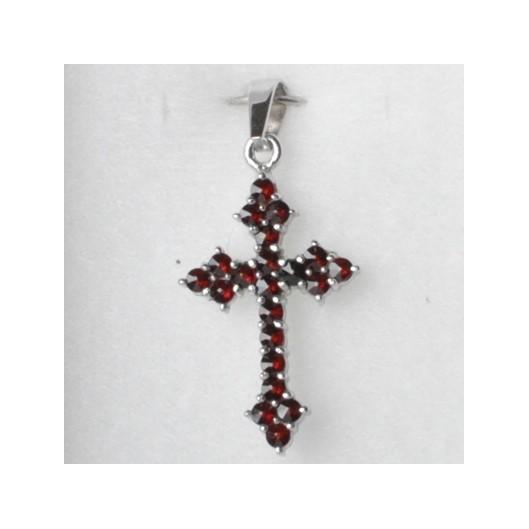 Stříbrný přívěšek český granát - křížek