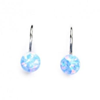 Stříbrné náušnice kuličky se světle modrými opály