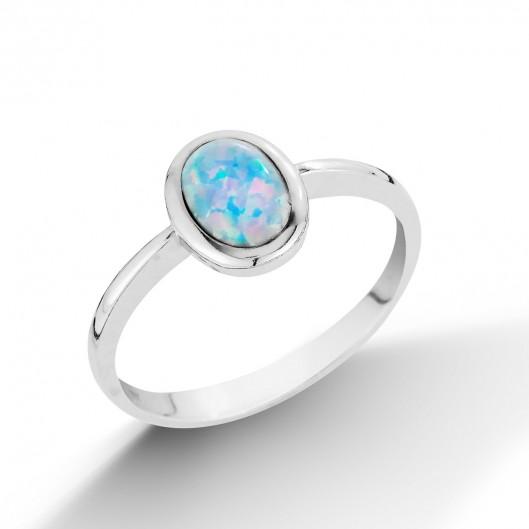 Stříbrný prsten s světle modrým opálem
