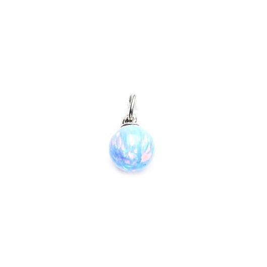 Stříbrný přívěšek - kulička světle modrý opál