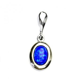 Stříbrný přívěšek s modrým opálem