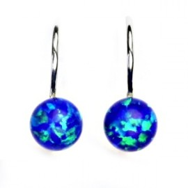 Stříbrné náušnice kuličky s modrými opály