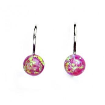 Stříbrné náušnice kuličky s růžovými opály