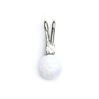 Stříbrný přívěšek s bílým opálem a zirkonem