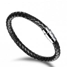 Černý kožený náramek splétaný magnetický 19 cm