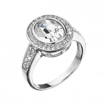 Stříbrný prsten s krystaly Swarovski bílý 35048.1
