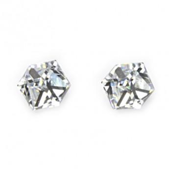 Stříbrné náušnice s kostkami Crystals from SWAROVSKI®, Crystal