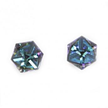 Stříbrné náušnice s kostkami Crystals from SWAROVSKI®, Bermuda Blue