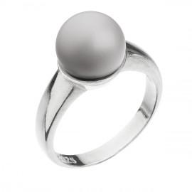 Stříbrný prsten s perlou pastelově šedý 35022.3