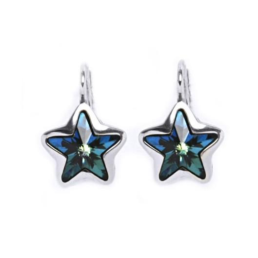 Stříbrné náušnice s hvězdami Crystals from SWAROVSKI®, Bermuda Blue