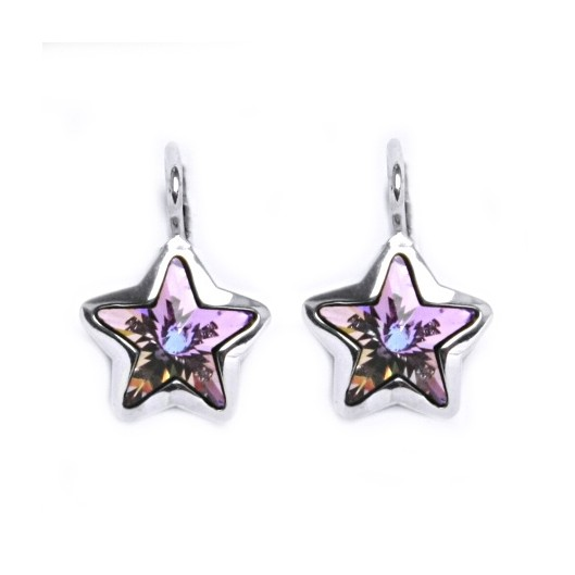 Stříbrné náušnice s hvězdami Crystals from SWAROVSKI®, Vitrail Light