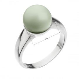 Stříbrný prsten s perlou pastelově zelený 35022.3 pastel green
