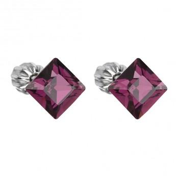 Stříbrné náušnice s krystaly Crystals from Swarovski®, Amethyst